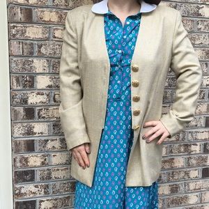 Vintage 80's Metallic Plaid Long Oversized Blazer